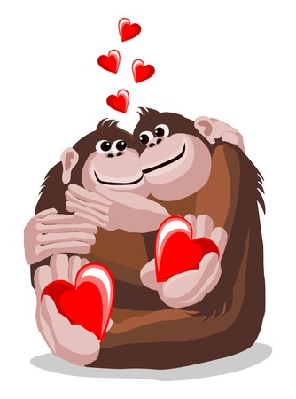 antics: Illustration of a pair of lovers monkeys with hearts