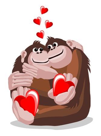 chimpances: Ilustración de una pareja de amantes monos con corazones Vectores