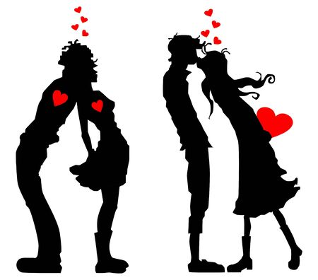 Icon with silhouettes of people in love with a heart