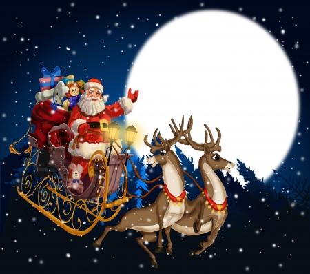 renna: sfondo di Natale con Babbo Natale in una slitta con renne Archivio Fotografico
