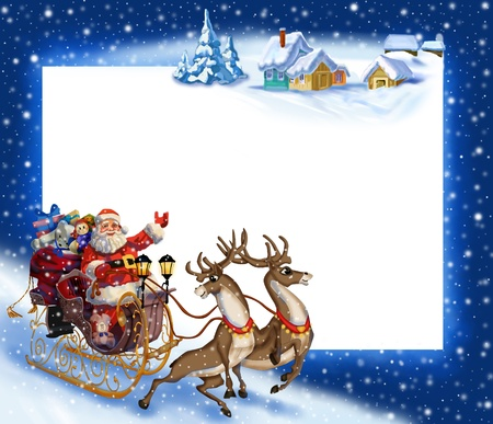 claus:  christmas background with santa claus in a sleigh with reindeer Stock Photo