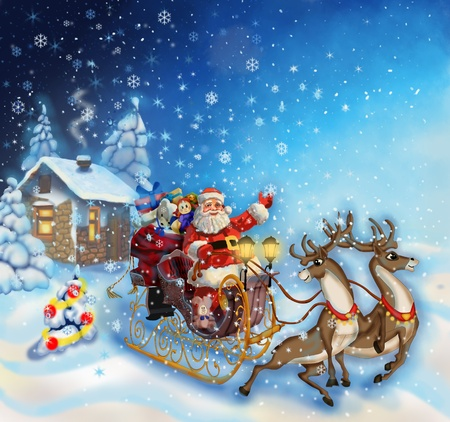 christmas illustration of santa claus in a sleigh with reindeer illustration
