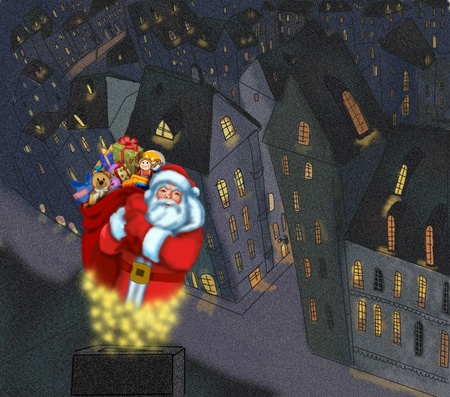 santa claus with gifts on the background of the city. photo