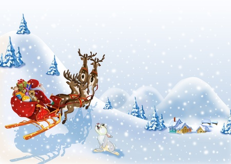 Christmas background with Santa Claus in a sleigh with reindeer photo