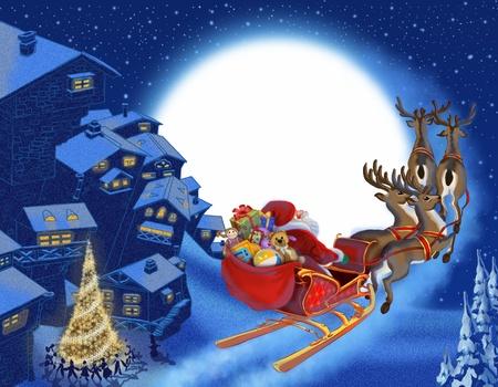 papa noel en trineo: Fondo de Navidad con Santa Claus Foto de archivo