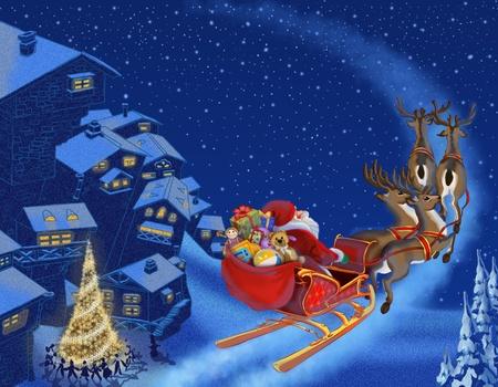 sledge: Navidad ilustraci�n de Santa Claus
