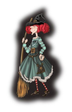 Cute witch with a broom Stock Photo