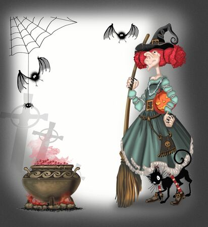 cauldron: Background on Halloween with witch