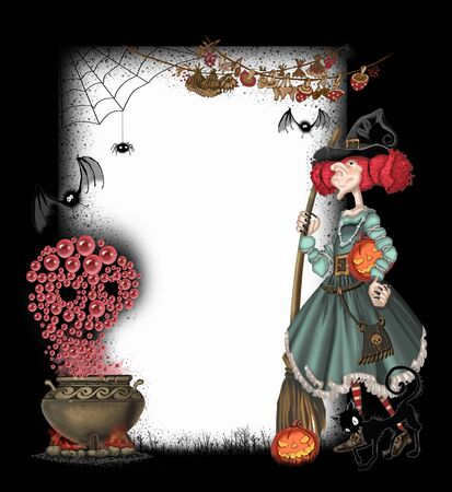 cat call: Background with a witch for Halloween