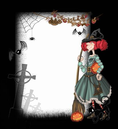 dry flies: Background with a witch for Halloween
