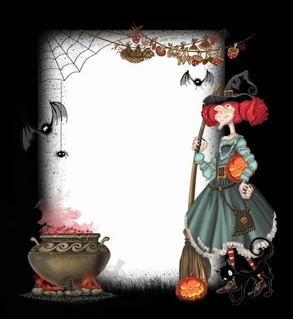 Background with a witch for Halloween photo