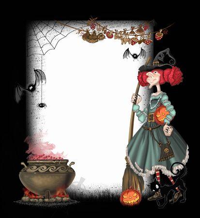 bruja: De fondo con una bruja para Halloween Foto de archivo