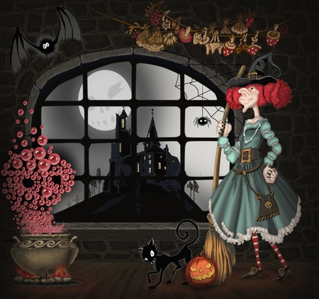 illustration with a witch for Halloween illustration