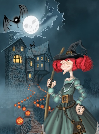 Illustration of the castle and the witch for Halloween illustration
