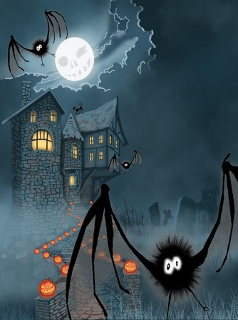 cat suit: Illustration of the castle for Halloween Stock Photo