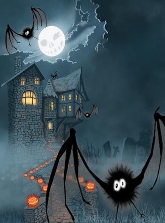 Illustration of the castle for Halloween illustration