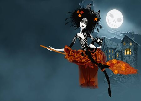Witch flying on her broom with cat