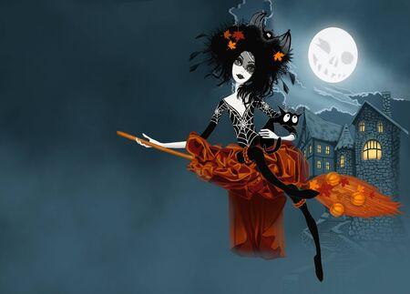 strega che vola: Witch volare sulla sua scopa con il gatto