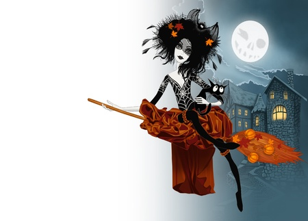 Witch flying on her broom with cat photo