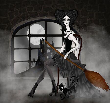 escoba: Ilustración con un candado y una bruja para Halloween