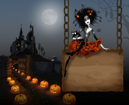 Illustration for Halloween with witch Stock Photo