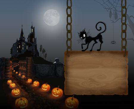 Illustration for Halloween with a black cat illustration