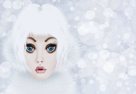 Glamorous girl in winter clothes photo