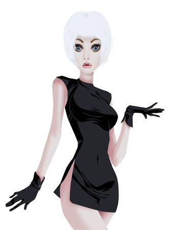 busty: Glamorous woman in black dress Stock Photo