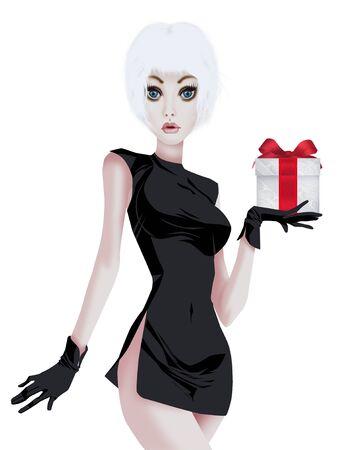Glamorous woman in black dress Stock Photo