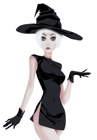 Glamorous girl in witch costume photo