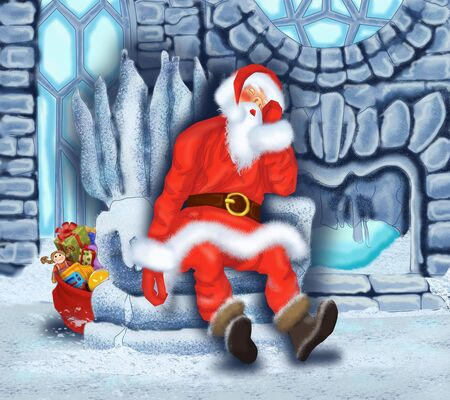 Sleeping Santa Claus at the Ice House Stock Photo - 17441091
