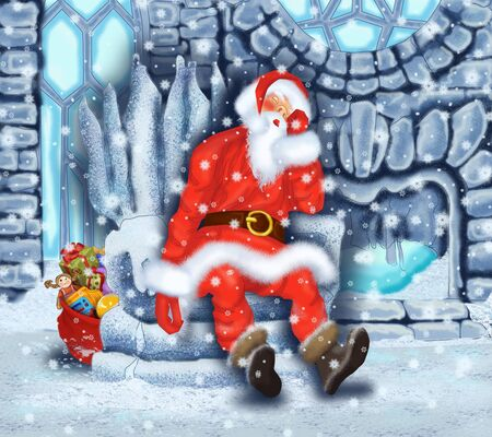 Sleeping Santa Claus at the Ice House Stock Photo - 17441095