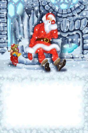 Sleeping Santa Claus at the Ice House Stock Photo - 17441089