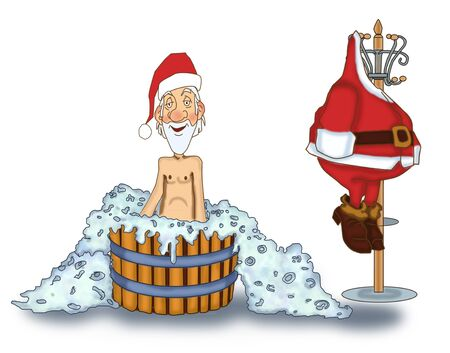 Jolly Santa Claus takes a bath without a suit Stock Photo - 17441100