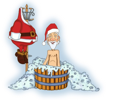 Jolly Santa Claus takes a bath without a suit Stock Photo - 17441069