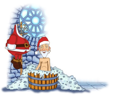 Jolly Santa Claus takes a bath without a suit Stock Photo - 17441097