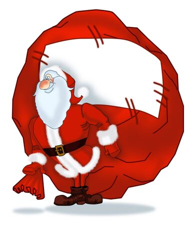 Santa Claus with a big bag of gifts Stock Photo