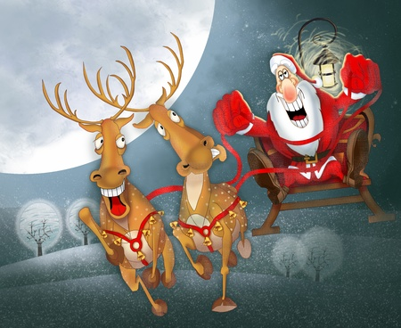 cartoon reindeer: Santa Claus in a sleigh with reindeer Stock Photo
