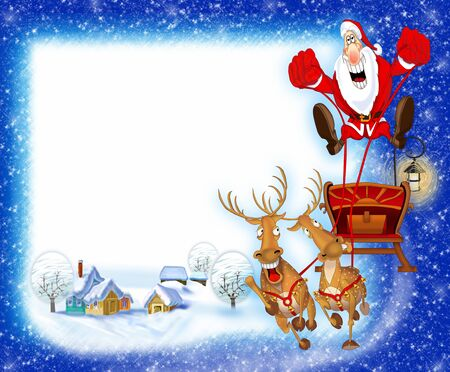 Christmas background with Santa Claus in a sleigh