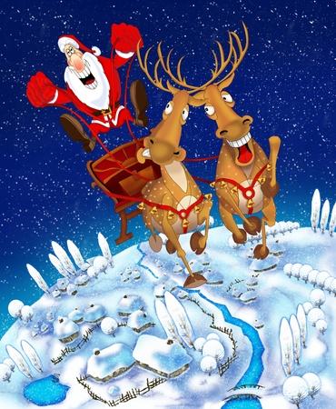sledge: Ilustraci�n en el tema de la Navidad Foto de archivo