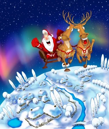 Illustration of flying Santa Claus in a sleigh Stock Illustration - 17698136