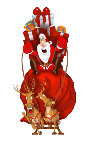 Santa Claus on flying reindeer with gift bag Stock Photo