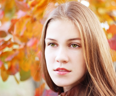 Portrait of a girl on a background autumn nature