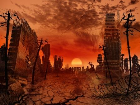 De illustratie op het thema van de apocalyps Stockfoto