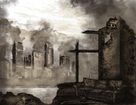 The illustration on the theme of the apocalypse Stock Photo
