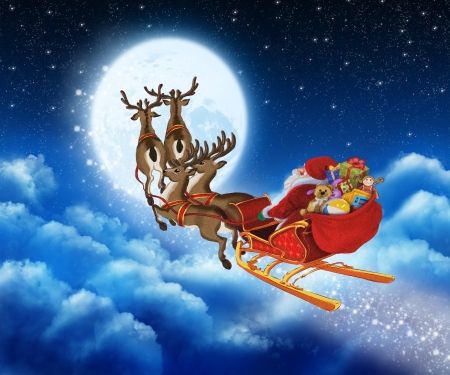 Santa Claus on reindeer flying through the sky Stock Photo
