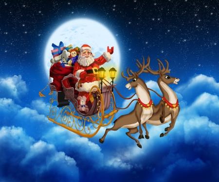 papa noel en trineo: Papá Noel en el reno que vuela por el cielo Foto de archivo