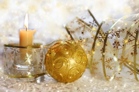 hristmas: Christmas still life with ribbons, balls and candles