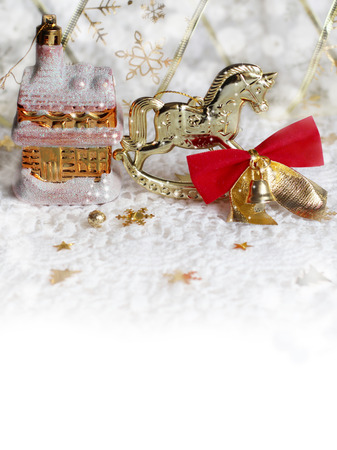 Christmas background with Christmas toys Stock Photo