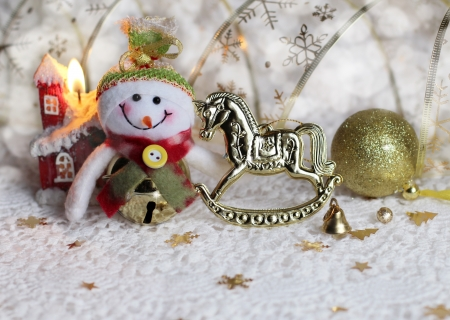 Christmas background with snowman and toys